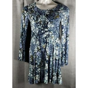 Xhilaration Small Floral LS Lace Front Dress Nwot